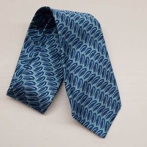 Jos A Bank Blue Gold Art Deco Italian Silk Tie